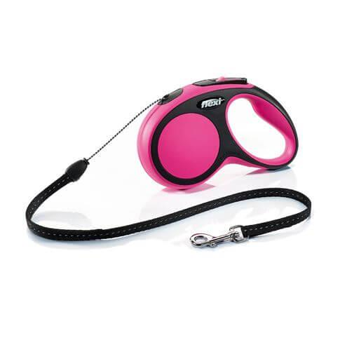 Roll-Leine Comfort mit Seil pink