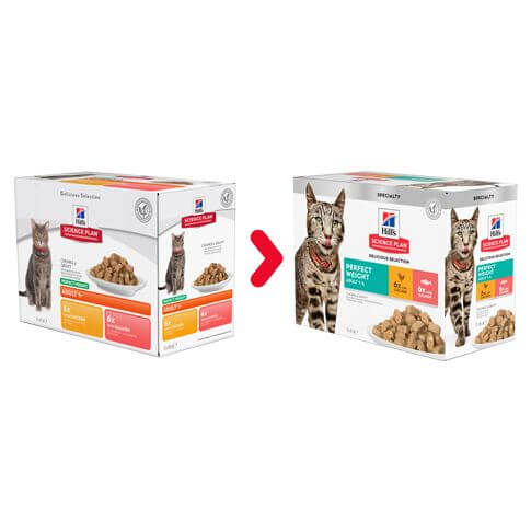 Hill's Feline Adult Perfect Weight Multipack Huhn & Lachs - Beutel