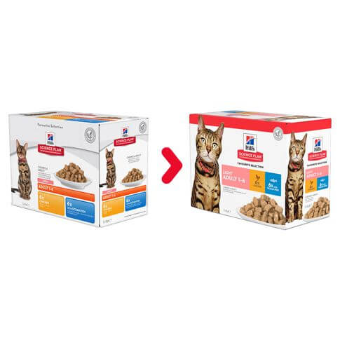Hill's Feline Adult Light Multipack Huhn&Meerfisch - Beutel