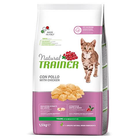 Trainer Natural Young Cat mit frischem Huhn