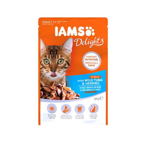 Iams Adult Delights mit Thunfisch & Hering in Sauce