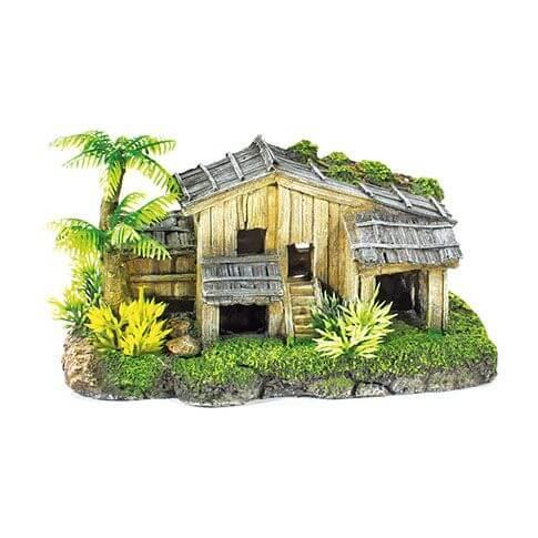 Aquarium-Deko Holzhaus mit Palme