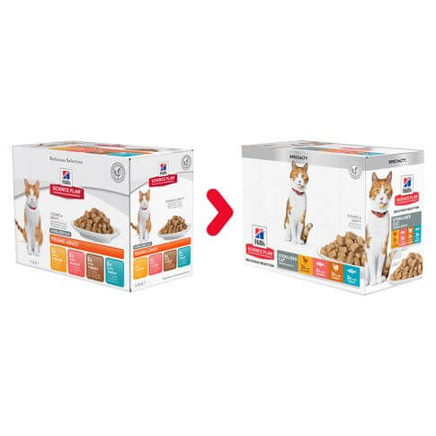 Hill's Feline Young Adult Sterilised Cat Multipack Huhn&Lachs - Beutel