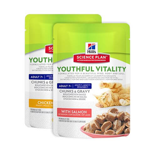 Hill's Feline Adult 7+ Youthful Vitality Multipack Huhn & Lachs - Beutel