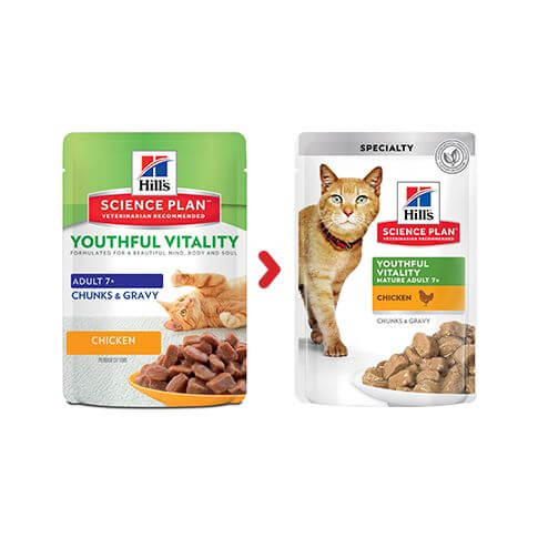 Hill's Feline Adult 7+ Youthful Vitality Huhn - Beutel