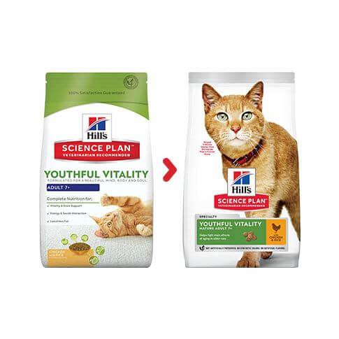 Hill's Feline Adult 7+ Youthful Vitality Huhn & Reis