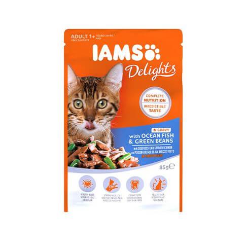 Iams Adult Delights mit Meerfisch & Bohnen in Sauce