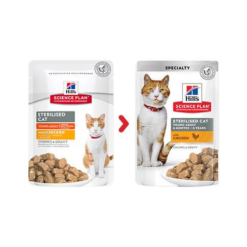 Hill's Feline Young Adult Sterilised Cat Huhn - Beutel